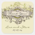 El favor floral del boda del vintage le agradece calcomania cuadrada personalizada