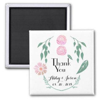 El favor floral verde rosado del boda le agradece imanes