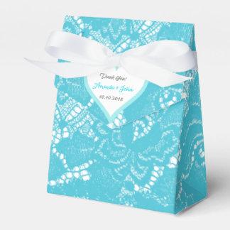El favor gris del boda del cordón de la turquesa caja para regalos