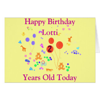 El feliz cumpleaños 2 años, añade el frente tarjeta de felicitación