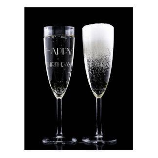 El feliz cumpleaños anima la flauta de champán dos postal