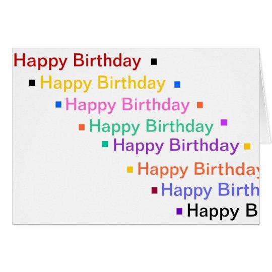 El feliz cumpleaños en arco iris colorea la tarjeta pequeña