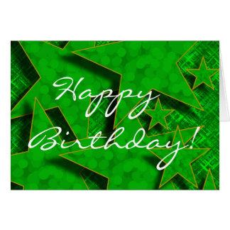 El feliz cumpleaños en verde protagoniza la tarjeta