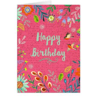 El feliz cumpleaños florece la tarjeta de