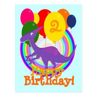 El feliz cumpleaños hincha la postal del dinosauri
