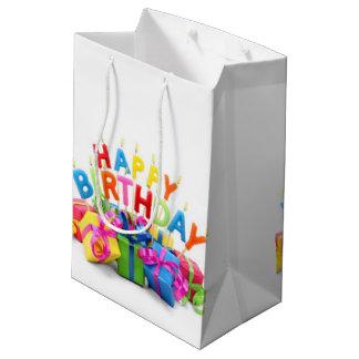 El feliz cumpleaños presenta diseño del modelo bolsa de regalo mediana