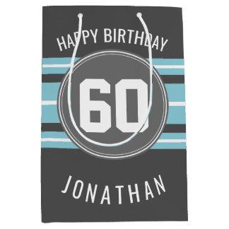 El feliz cumpleaños se divierte las rayas nombre y bolsa de regalo mediana