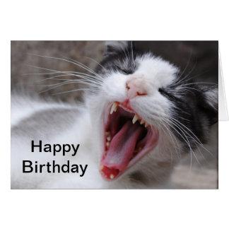 El feliz cumpleaños sea un gato perezoso hoy tarjeta pequeña