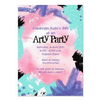 El fiesta abstracto del arte de la pintura invita invitación 12,7 x 17,8 cm