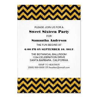 El fiesta amarillo del dulce 16 del brillo de invitación 12,7 x 17,8 cm