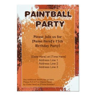 El fiesta anaranjado de Paintball invita Invitación 12,7 X 17,8 Cm