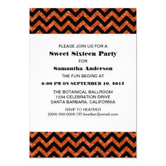 El fiesta anaranjado del dulce 16 del brillo de invitación 12,7 x 17,8 cm