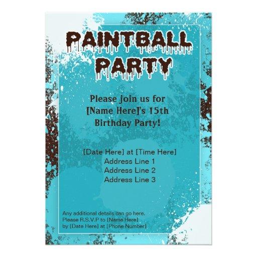 El fiesta azul de Paintball invita Anuncio