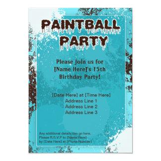 El fiesta azul de Paintball invita Invitación 12,7 X 17,8 Cm