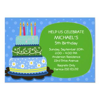 El fiesta azul grande de la torta del cumpleaños invitación 11,4 x 15,8 cm