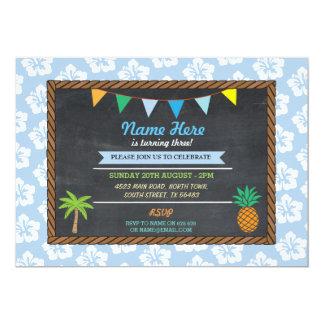 El fiesta azul tropical Tiki de la hawaiana del Invitación 12,7 X 17,8 Cm