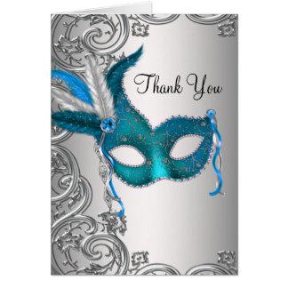 El fiesta azul verde azulado de la mascarada le tarjeta pequeña