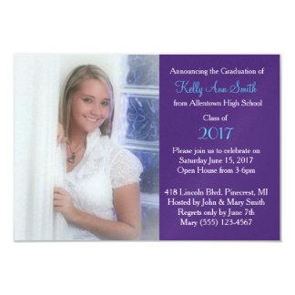 El fiesta azul y púrpura bonito del graduado invitación 8,9 x 12,7 cm