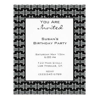El fiesta blanco negro del modelo invita folleto 11,4 x 14,2 cm