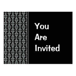 El fiesta blanco negro del modelo invita postal