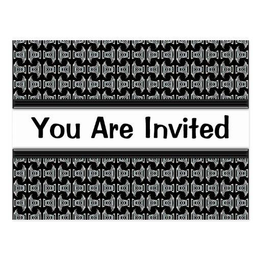 El fiesta blanco negro del modelo invita tarjetas postales