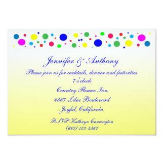 El fiesta colorea a la recepción nupcial invitaciones personales