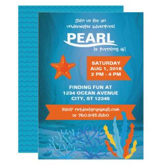 El fiesta de aventura subacuático invita invitación 12,7 x 17,8 cm