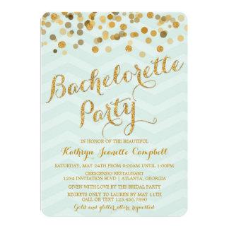 El fiesta de Bachelorette del confeti del oro que Invitación 12,7 X 17,8 Cm