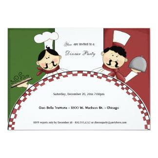 El fiesta de cena caprichoso del cocinero invita invitación 12,7 x 17,8 cm