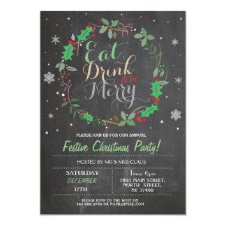 El fiesta de cena de navidad come la bebida que invitación 12,7 x 17,8 cm