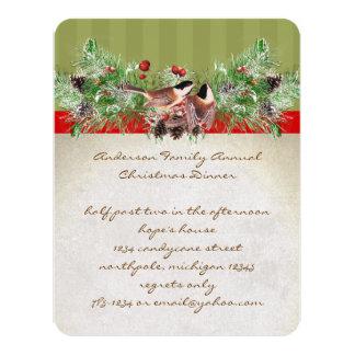 El fiesta de cena de navidad de los pájaros del invitación 10,8 x 13,9 cm
