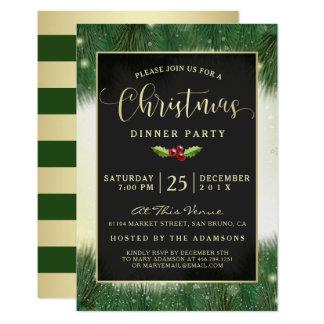 El fiesta de cena moderno de navidad del verde y invitación 8,9 x 12,7 cm