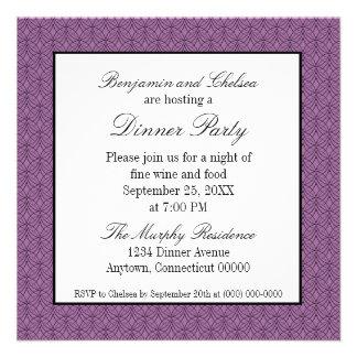 El fiesta de cena retro del metro invita púrpura invitacion personalizada
