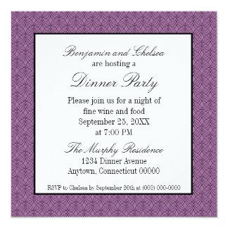 El fiesta de cena retro del metro invita, púrpura invitación 13,3 cm x 13,3cm