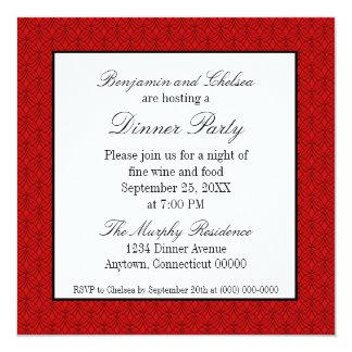 El fiesta de cena retro del metro invita, rojo invitación 13,3 cm x 13,3cm