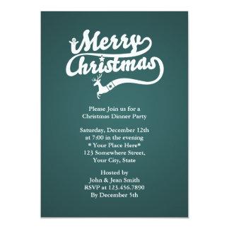El fiesta de cena tipográfico verde de navidad invitación 12,7 x 17,8 cm