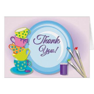El fiesta de cerámica de la pintura le agradece tarjeta pequeña