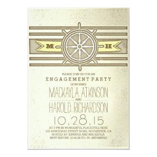 el fiesta de compromiso amarillo náutico del invitación 12,7 x 17,8 cm
