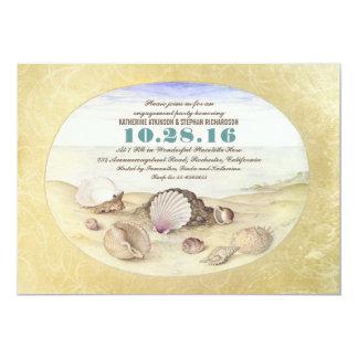 El fiesta de compromiso de los seashells de la invitación 12,7 x 17,8 cm