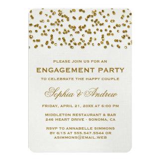 El fiesta de compromiso del confeti de la mirada invitación 12,7 x 17,8 cm