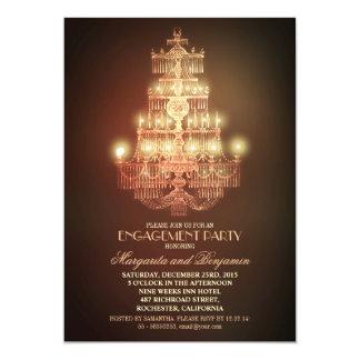 el fiesta de compromiso elegante de la lámpara del invitación 12,7 x 17,8 cm
