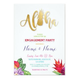 El fiesta de compromiso floral de la hawaiana invitación 12,7 x 17,8 cm