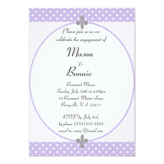 El fiesta de compromiso violeta elegante de los invitación 12,7 x 17,8 cm