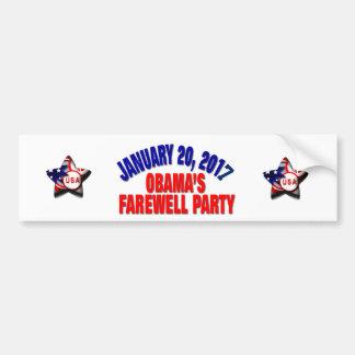 El fiesta de despedida de Obama Pegatina Para Coche