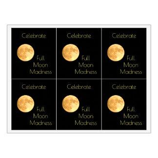 El fiesta de la locura de la Luna Llena celebra Etiqueta Para Botella De Vino