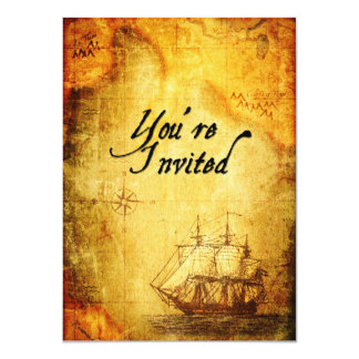 El fiesta de los piratas invita en mapa antiguo invitación 11,4 x 15,8 cm
