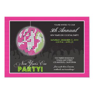 El fiesta de Noche Vieja de la bola de discoteca Invitación 12,7 X 17,8 Cm