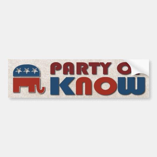 El fiesta de republicanos de sabe el GOP divertido Pegatina Para Coche