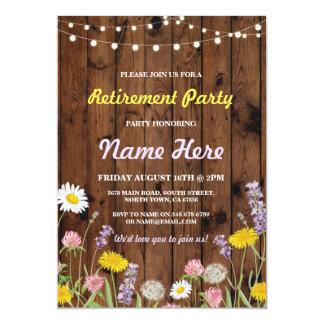 El fiesta de retiro de la flor salvaje jubilado invitación 12,7 x 17,8 cm