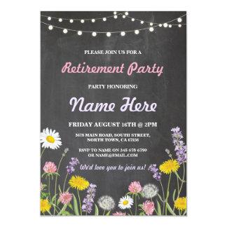 El fiesta de retiro de la tiza de la flor salvaje invitación 12,7 x 17,8 cm